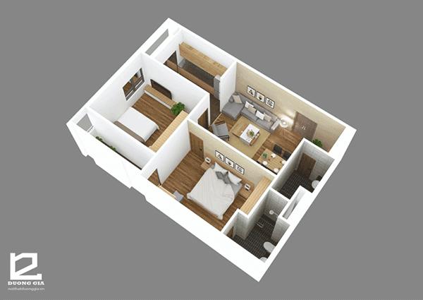 Thiết kế nội thất chung cư 2 phòng ngủ với diện tích 70m2 - Mẫu 2