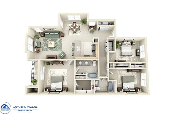 Thiết kế chung cư 3 phòng ngủ - mẫu 1