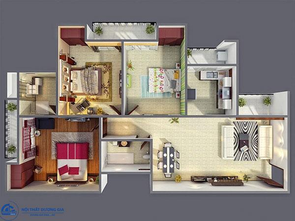 Mẫu thiết kế nội thất căn hộ chung cư 60, 70m2 với 3 phòng ngủ đẹp