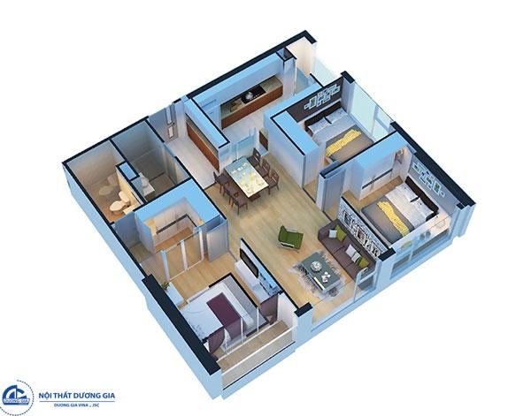 Thiết kế chung cư 3 phòng ngủ - mẫu 3