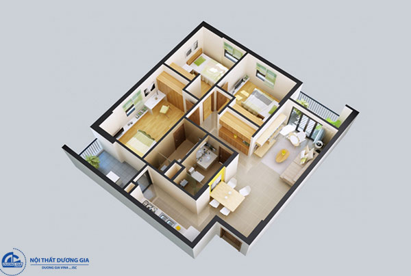 Thiết kế nhà 70m2 3 phòng ngủ - mẫu 6