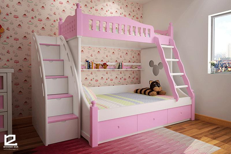Mẫu giường tầng đa năng cho bé gái DG-GK001