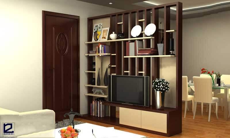 Vách ngăn gỗ trang trí phòng khách VNG-PK03