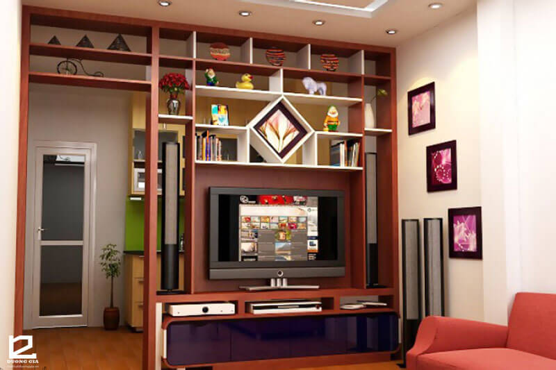 Vách ngăn gỗ trang trí phòng khách VNG-PK04