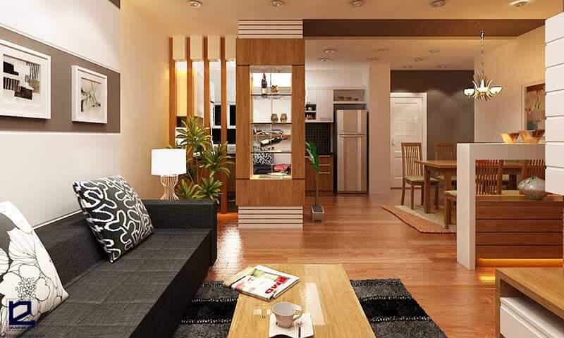 Vách ngăn gỗ trang trí phòng khách VNG-PK05