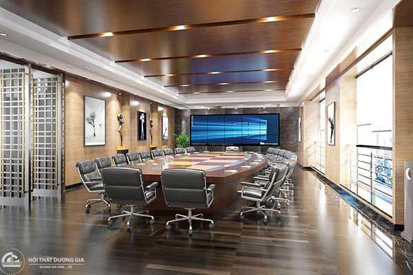 Mẫu thiết kế phòng họp đẹp cùng với những chiếc ghế họp sang trọng.