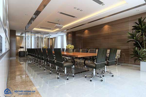 Mẫu thiết kế nội thất phòng họp đẹp PH-DG23 gây điểm nhấn với vách tường ốp gỗ