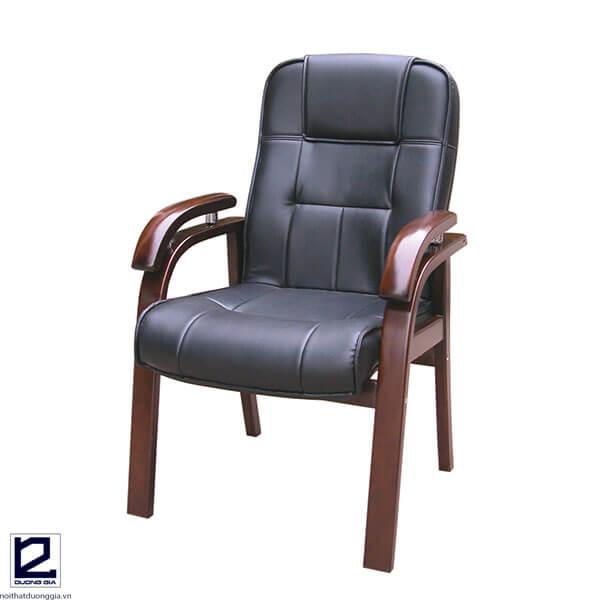 Ghế phòng họp GH05 khung gỗ, đệm tựa bọc da