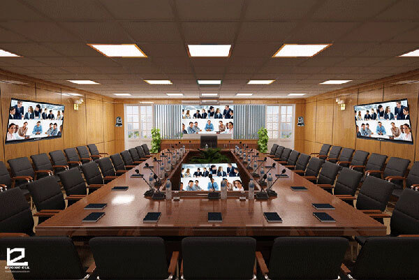 Thiết kế phòng họp trực tuyến cũng không thể bỏ qua yếu tố tường phòng họp