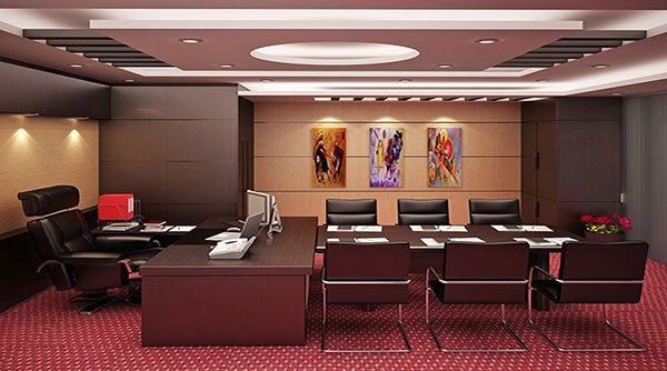 Không gian phòng làm việc của giám đốc trở nên huyền bí với cách sử dụng tông màu trầm của nội thất
