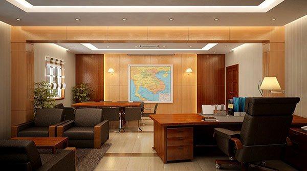 Các chi tiết cân xứng, đường nét trang trí tinh tế và khéo léo trở thành đặc trưng nổi bật cho phong cách cổ điển của phòng giám đốc