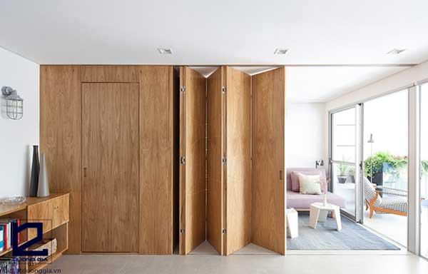Vách ngăn di động phòng ngủ bằng gỗ