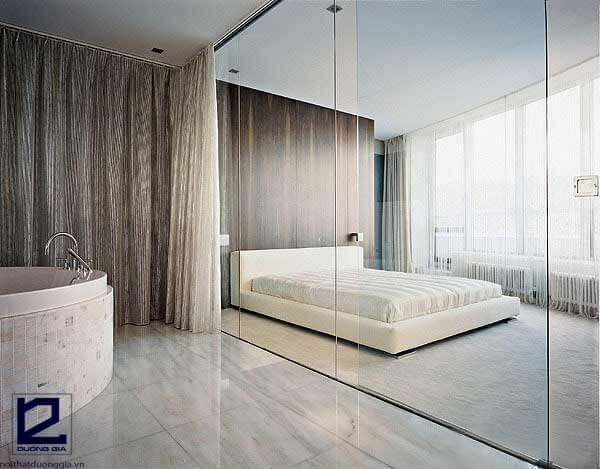 Vách ngăn di động cho phòng ngủ bằng kính