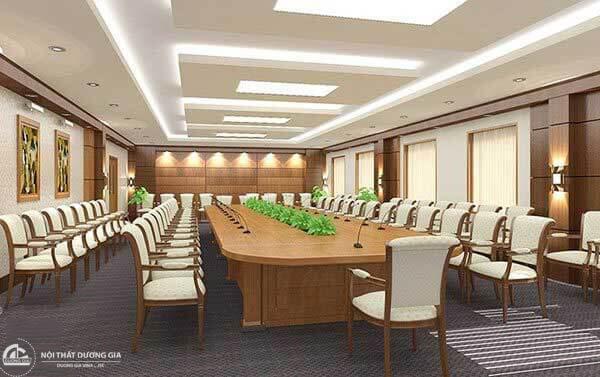 Mẫu thiết kế nội thất phòng họp đẹp phải có hệ thống âm thanh ánh sáng đạt chuẩn