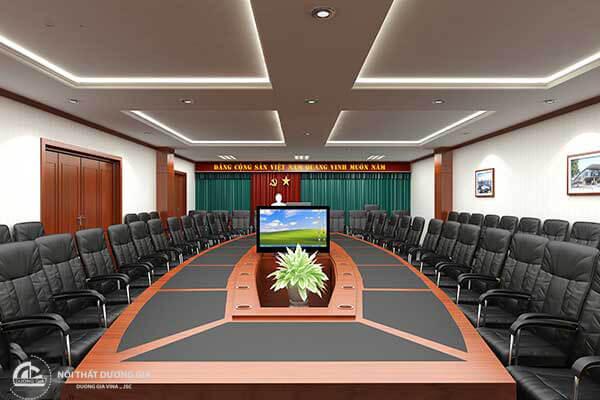 Mẫu thiết kế nội thất phòng họp đẹp với các chất liệu hiện đại