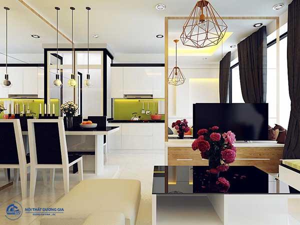 Mẫu thiết kế phòng khách và bếp liên nhau đơn giản, tinh tế số 10
