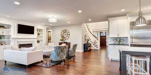Mẫu thiết kế phòng khách và bếp liên thông ấn tượng số 7