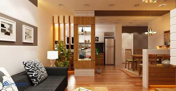 Mẫu thiết kế phòng khách và bếp liên thông đẹp số 1