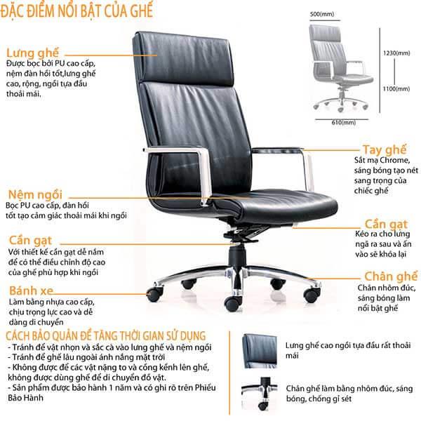 Kích thước ghế làm việc văn phòng