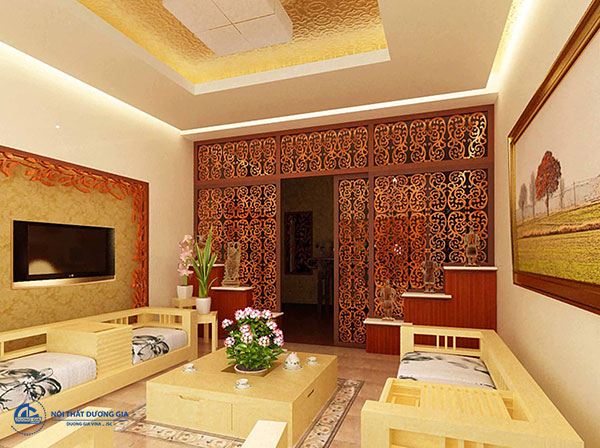 Mẫuvách ngăn phòng khách và phòng bếp lịch sự