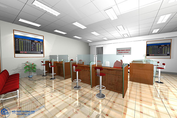 Sắp xếp nội thất và trang trí không gian quầy giao dịch ngân hàng ấn tượng