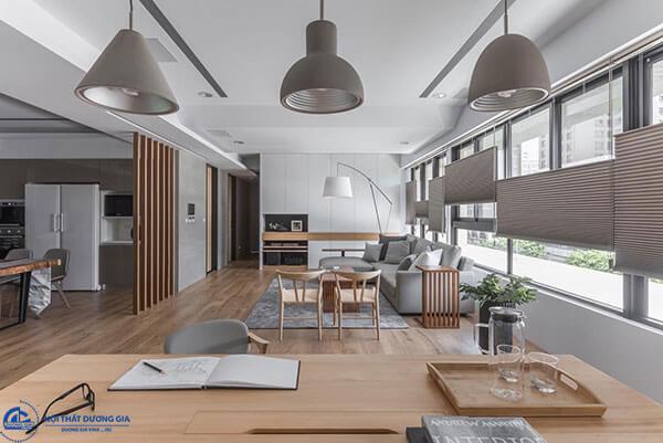 Mẫu vách ngăn phòng khách và phòng ăn đơn giản