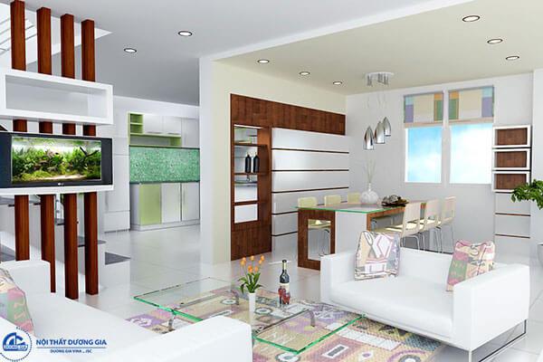 Vách ngăn phòng khách và phòng ăn đẹp