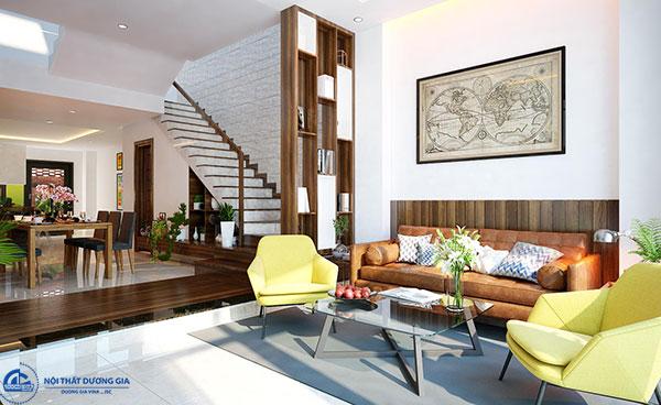 Mẫu vách ngăn phòng khách và nhà ăn bằng gỗ