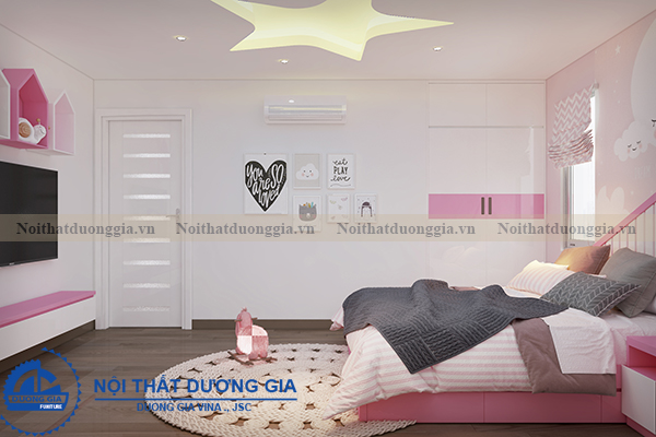 Thiết kế nội thất gia đình NTGD-DG05 - phòng ngủ con gái (góc chụp 3)