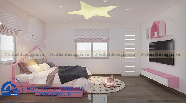 Thiết kế nội thất gia đình NTGD-DG05 - phòng ngủ con gái (góc chụp 2)