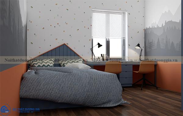 Thiết kế nội thất gia đình NTGD-DG07 - Phòng ngủ con 2 (view 1)