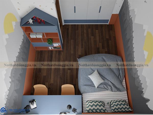 Thiết kế nội thất gia đình NTGD-DG07 - Phòng ngủ con 2 (view 3)