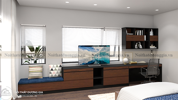 Thiết kế nội thất phòng ngủ gia đình NTGD-DG10 - phòng ngủ 3 (view 1)