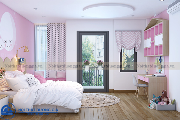 Thiết kế nội thất gia đình NTGD-DG11- phòng ngủ con gái 2 (view 1)