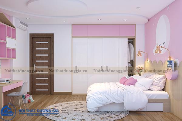 Thiết kế nội thất gia đình NTGD-DG11- phòng ngủ con gái 2 (view 2)
