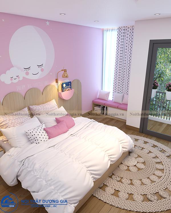 Thiết kế nội thất gia đình NTGD-DG11- phòng ngủ con gái 2 (view 3)