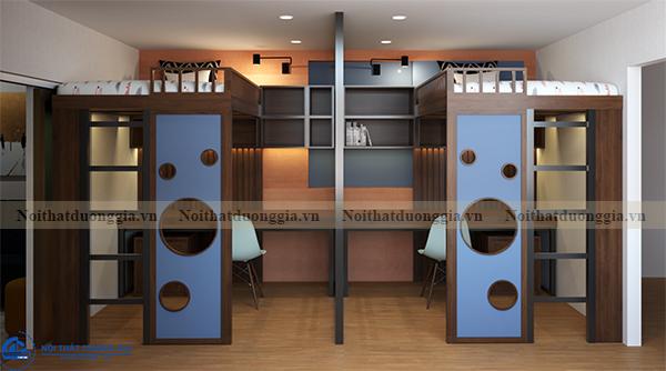 Thiết kế nội thất gia đình NTGD-DG13 - phòng ngủ con 1 (view 1)