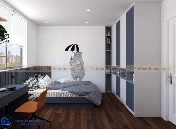 Thiết kế nội thất gia đình NTGD-DG14 - phòng ngủ 2 (view 1)