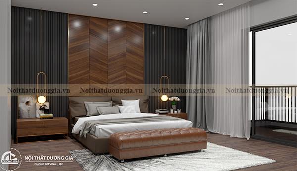 Thiết kế nội thất gia đình NTGD-DG17 - phòng ngủ master (view 1)