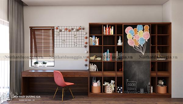 Thiết kế nội thất gia đình NTGD-DG17 - phòng ngủ con gái (view 1)