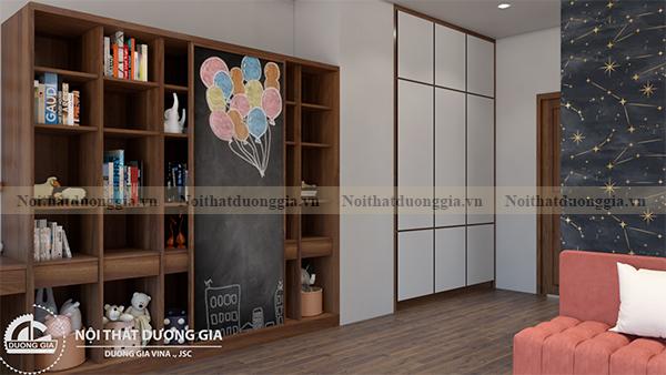 Thiết kế nội thất gia đình NTGD-DG17 - phòng ngủ con gái (view 3)