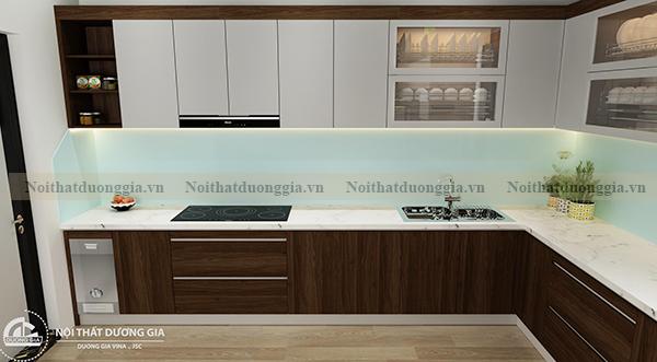 Thiết kế nội thất gia đình NTGD-DG17 - phòng bếp phương án 1 (view 1)