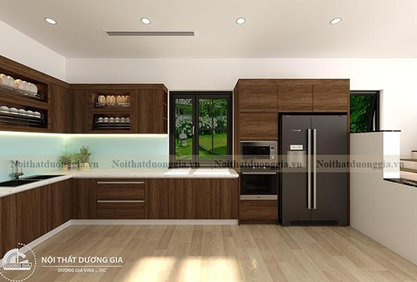Thiết kế nội thất gia đình NTGD-DG17 - phòng bếp phương án 2 (view 1)